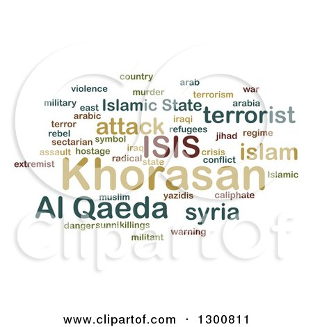 Clipart of a Green ISIS and Al Qaeda Word Collage over White 2 - Royalty Free Illustration by oboy