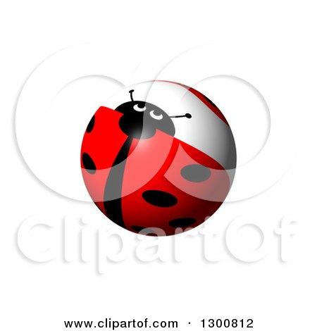 Clipart of a Shiny Ladybug Globe on White - Royalty Free Illustration by oboy