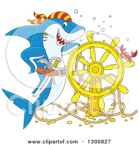 Clipart of a Cartoon Blue and White Shark Pirate Posing with a Sunken Ship Helm and Crab - Royalty Free Illustration by Alex Bannykh
