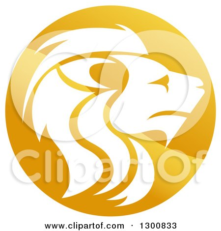 Clipart of a Gradient Golden Male Lion Head Circle - Royalty Free Vector Illustration by AtStockIllustration