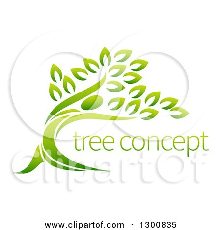 Clipart of a Gradient Green Man Forming the Trunk of a Tree with Sample Text - Royalty Free Vector Illustration by AtStockIllustration