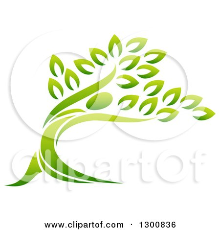 Clipart of a Gradient Green Man Forming the Trunk of a Tree - Royalty Free Vector Illustration by AtStockIllustration
