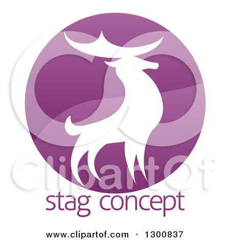 Clipart of a Gradient Purple Deer Stag Circle over Sample Text - Royalty Free Vector Illustration by AtStockIllustration
