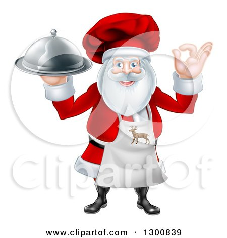 Clipart of a Happy Santa Claus Chef Gesturing Ok and Holding a Food Cloche Platter - Royalty Free Vector Illustration by AtStockIllustration