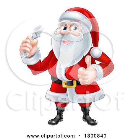 Clipart of a Christmas Santa Claus Giving a Thumb up and Holding a Wrench - Royalty Free Vector Illustration by AtStockIllustration