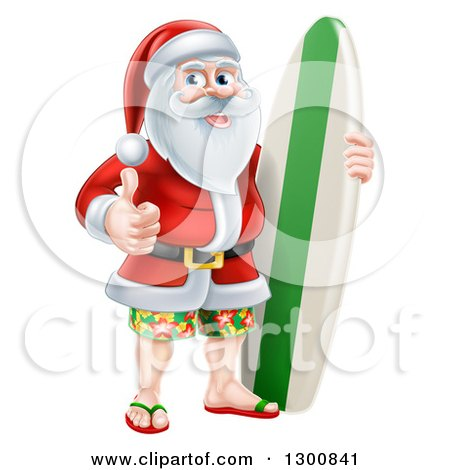 Clipart of a Christmas Santa Claus Giving a Thumb up and Standing with a Surf Board on Vacation - Royalty Free Vector Illustration by AtStockIllustration