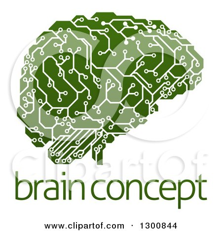 Clipart of a Green Artificial Intelligence Circuit Board Brain over Sample Text - Royalty Free Vector Illustration by AtStockIllustration