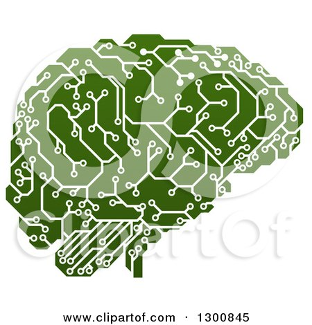 Clipart of a Green Artificial Intelligence Circuit Board Brain - Royalty Free Vector Illustration by AtStockIllustration