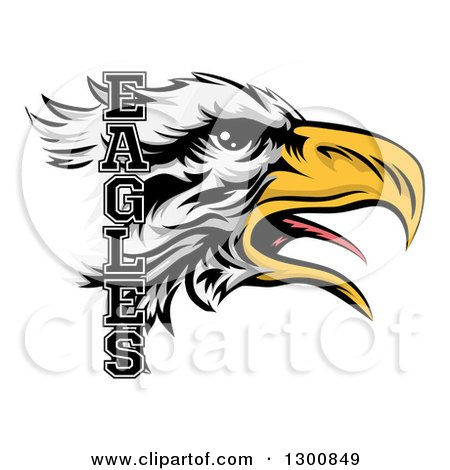 Clipart of a Tough Bald Eagle Mascot Head and Text - Royalty Free Vector Illustration by AtStockIllustration