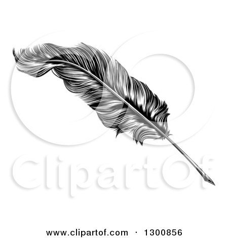 Clipart of a Black and White Engraved Feather Quill Pen - Royalty Free Vector Illustration by AtStockIllustration