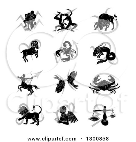 Clipart of Black Silhouetted Astrology Zodiac Animals and Gray Symbols - Royalty Free Vector Illustration by AtStockIllustration