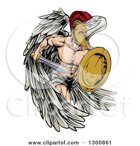 Clipart of a Spartan Trojan Warrior Angel Running with a Sword and Shield - Royalty Free Vector Illustration by AtStockIllustration