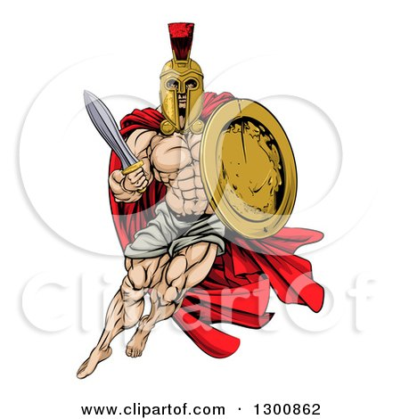 Clipart of a Strong Spartan Trojan Warrior Mascot with a Cape, Running with a Sword and Shield - Royalty Free Vector Illustration by AtStockIllustration