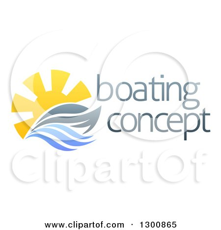 Clipart of a Sailing Boat Yacht with the Sun and Ocean Waves by Sample Text - Royalty Free Vector Illustration by AtStockIllustration