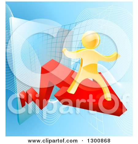 Clipart of a 3d Gold Man Cheering on a Red Growth Arrow over Graphs on Blue - Royalty Free Vector Illustration by AtStockIllustration
