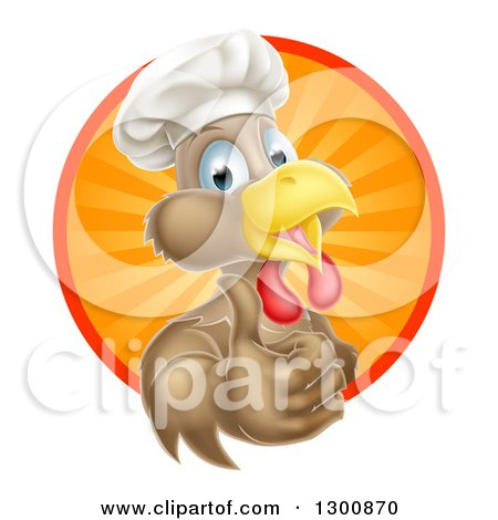 Happy Brown Chef Chicken Giving a Thumb up and Emerging from a Circle of Sun Rays Posters, Art Prints