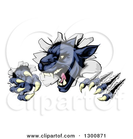Clipart of a Fierce Black Panther Shredding Through a Wall - Royalty Free Vector Illustration by AtStockIllustration