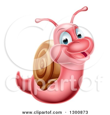 Clipart of a Cartoon Cheerful Green Snail - Royalty Free ...