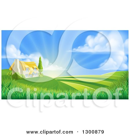 Clipart of a Cottage Farm House Atop a Hill with Fields at Sunrise - Royalty Free Vector Illustration by AtStockIllustration
