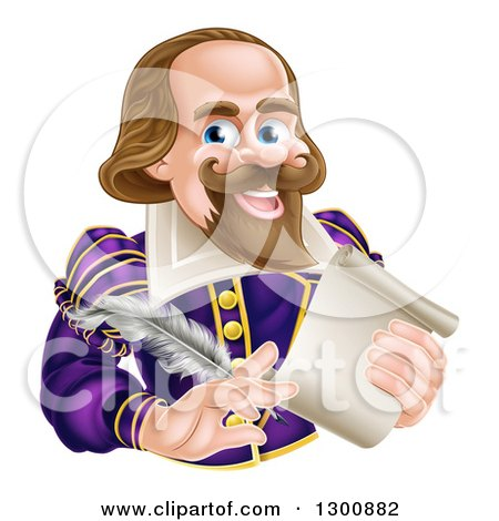 Clipart Of A Cartoon Happy William Shakespeare Holding A Scroll And Feather Quill Royalty Free Vector Illustration