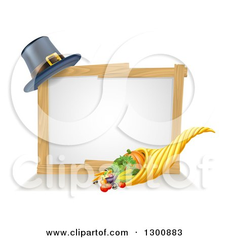 Clipart of a Thanksgiving Cornucopia Horn of Plenty with Produce and a Pilgrim Hat with a Blank White Site - Royalty Free Vector Illustration by AtStockIllustration
