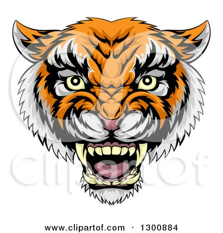 Clipart of a Vicious Snarling Tiger Mascot Face - Royalty Free Vector Illustration by AtStockIllustration