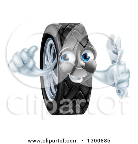 Clipart of a Happy Tire Character Holding a Thumbs up and a Spanner Wrench - Royalty Free Vector Illustration by AtStockIllustration