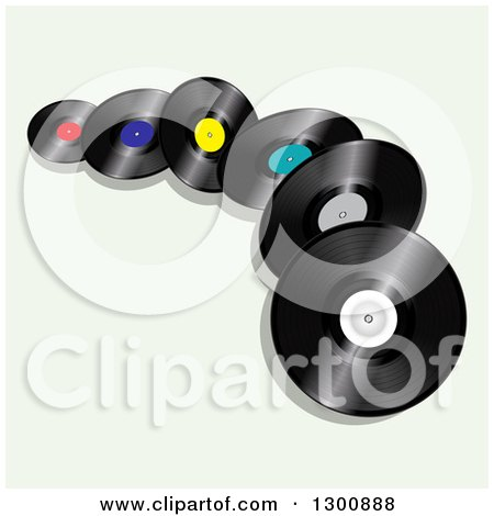 Clipart of 3d Vinyl Record Albums on Pastel Green - Royalty Free Vector Illustration by elaineitalia