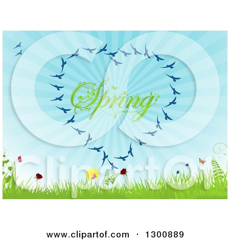 Clipart of a Heart Formed of Blue Birds Around Spring Text with Butterflies, Flowers, Grass, Ferns and Blue Sunshine Rays - Royalty Free Vector Illustration by elaineitalia