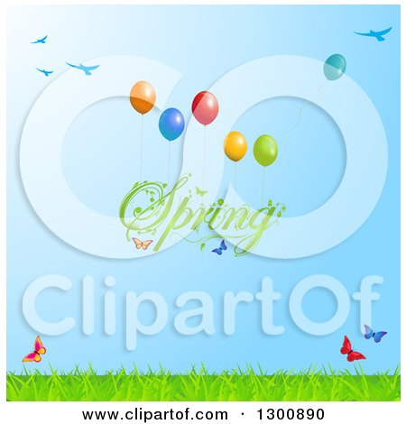 Clipart of Green Spring Text Floating with Balloons, Butterflies, Birds and Grass Against Green Sky - Royalty Free Vector Illustration by elaineitalia