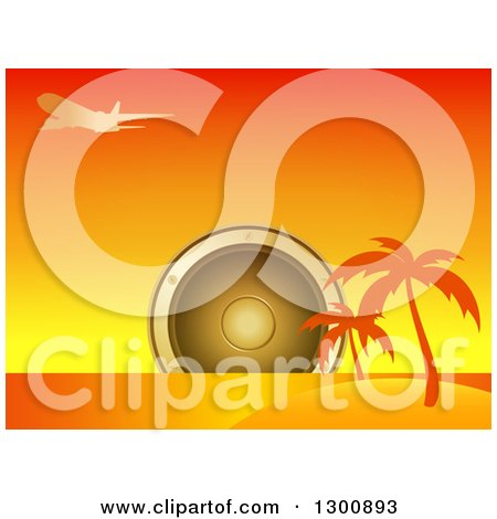 Clipart of a Giant Music Speaker over an Island with Silhouetted Palm Trees and Airplane at Sunset - Royalty Free Vector Illustration by elaineitalia