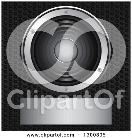 Clipart of a 3d Music Speaker and Blank Silver Plaque over Perforated Metal - Royalty Free Vector Illustration by elaineitalia