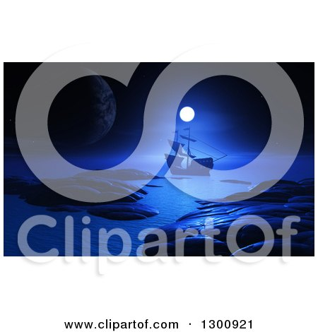 Clipart of a 3d Ship Sailing the Ocean Against a Full Moon and Planet at Night - Royalty Free Illustration by KJ Pargeter