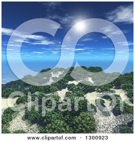 Clipart of a 3d Island with Trees and the Sun with Flares in a Blue Sky - Royalty Free Illustration by KJ Pargeter