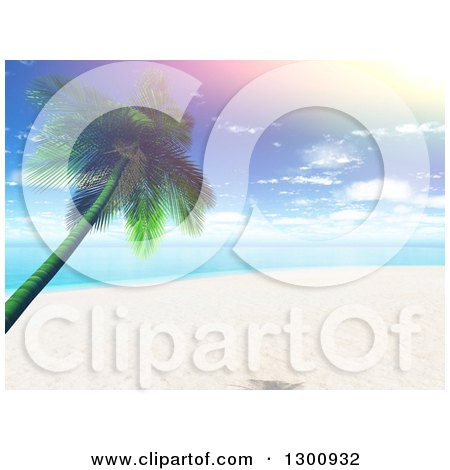 Clipart of a 3d Tropical Beach with a Leaning Palm Tree and a Retro Sun Flare - Royalty Free Illustration by KJ Pargeter