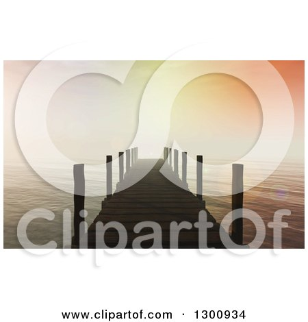 Clipart of a 3d Dock Leading out to the Ocean with Flares and a Sunset Sky - Royalty Free Illustration by KJ Pargeter