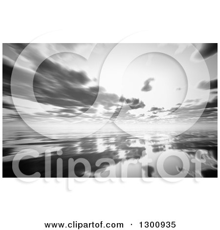 Clipart of a 3d Grayscale Sunset Reflected on a Still Bay - Royalty Free Illustration by KJ Pargeter