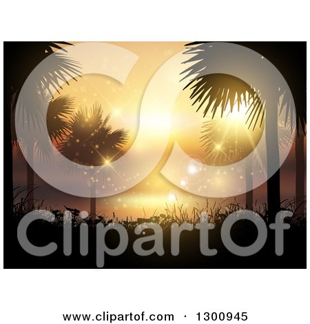 Clipart of a Background of Silhouetted Palm Trees and Foliage Against an Orange Summer Sunset and Flares - Royalty Free Vector Illustration by KJ Pargeter