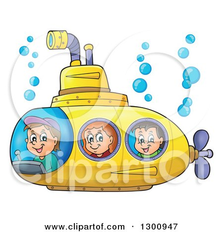 Clipart of Happy Cartoon White Children in a Yellow Submarine - Royalty Free Vector Illustration by visekart