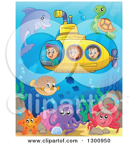 Clipart of Happy Cartoon White Children in a Yellow Submarine with Sea Creatures at a Colorful Reef - Royalty Free Vector Illustration by visekart
