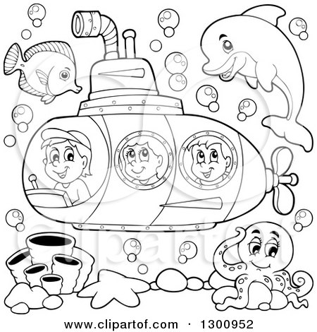 Clipart of Happy Black and White Cartoon Children in a Submarine with Sea Creatures - Royalty Free Vector Illustration by visekart