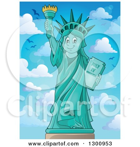 Clipart of a Carton Happy Statue of Liberty Holding up a Torch Against Blue Sky with Birds and Puffy Clouds - Royalty Free Vector Illustration by visekart
