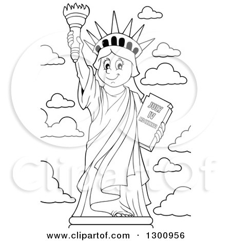Lineart Clipart of a Carton Black and White Happy Statue of Liberty Holding up a Torch - Royalty Free Outline Vector Illustration by visekart