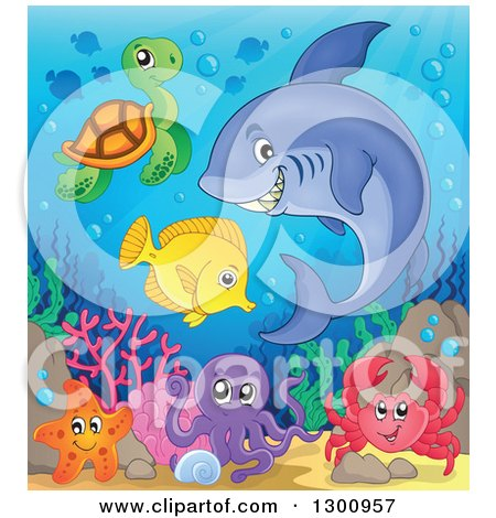 Clipart of a Cartoon Grinning Purple Shark Swimming at a Reef with an Octopus, Crab, Sea Turtle and Fish - Royalty Free Vector Illustration by visekart