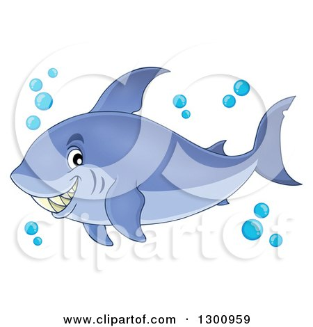 Clipart of a Cartoon Grinning Purple Shark Blue Bubbles - Royalty Free Vector Illustration by visekart