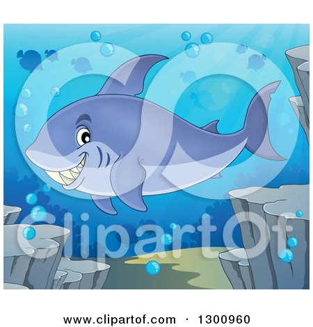 Clipart of a Cartoon Grinning Purple Shark Swimming Against a Silhouetted Reef and Fish - Royalty Free Vector Illustration by visekart