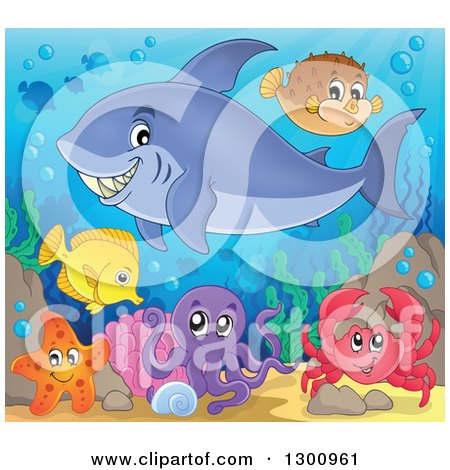 Clipart of a Cartoon Grinning Purple Shark Swimming at a Reef with an Octopus, Crab, and Fish - Royalty Free Vector Illustration by visekart