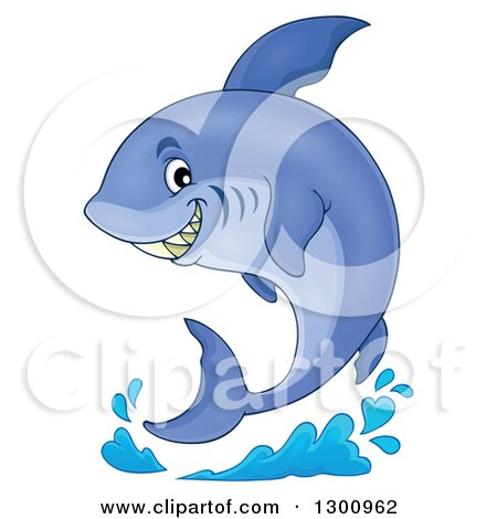 Clipart of a Cartoon Grinning Purple Shark and a Splash - Royalty Free Vector Illustration by visekart