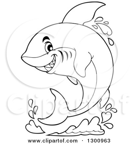 Lineart Clipart of a Black and White Cartoon Shark Jumping with a Splash - Royalty Free Outline Vector Illustration by visekart
