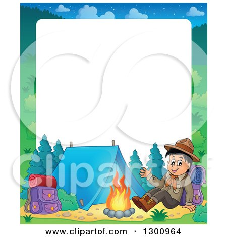 Clipart of a Cartoon Border of a Happy Scout Boy Sitting with a Backpack and Waving by a Camp Fire - Royalty Free Vector Illustration by visekart